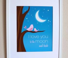 I Love You to the Moon and Back with Pink Birds Nursery Art Print, 8x10