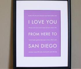 San Diego Art Print , 8x10