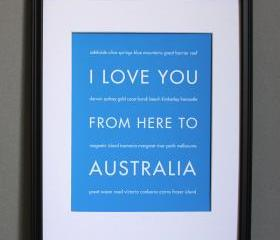 Australia Art Print, 8x10 