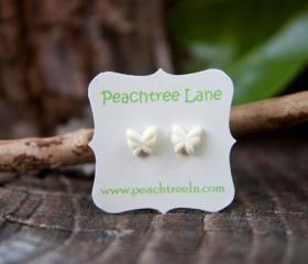 Tiny Cream-Ivory Butterfly Post Earrings - Buttercream