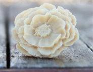 Khaki-Cream Large Poppy Flower Ring Vintage Style - Cream