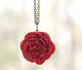 Red-Crimson Peony Flower Cabochon Necklace Vintage Style perfect for Bridesmaid Gifts - Ruby