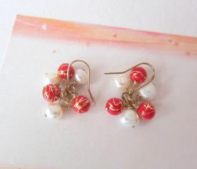 Oriental Elegance Earrings-14K gold, White Cultured Pearls & Red-Gold Beads