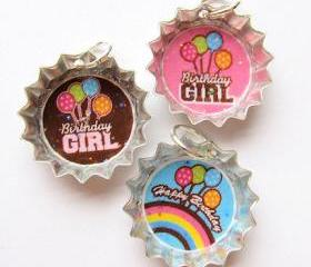 Mini Bottle Cap Charm Pendant Happy Birthday Girl Glitter