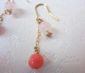 My Dreamz Will Come True Earrings - 14K Gold, Pink Coral & Rose Quartz