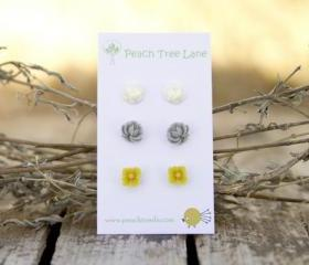 Mustard Yellow, Grey, & Cream-Ivory Flower Post Earrings perfect for Bridesmaid Gifts - Heather