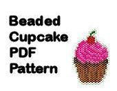 Beaded Cupcake Pattern PDF Digital File Brick Peyote Stitch Charm Ornament