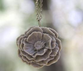 Large Grey Peony Rose Flower Necklace Vintage Style