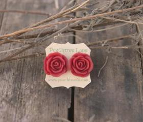 Large Red Rose Stud Earrings perfect for Bridesmaid Gifts, Bridal Jewelry