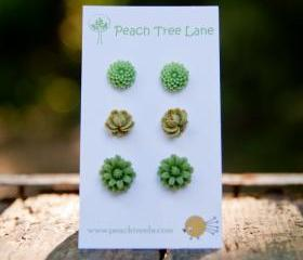 Light Green, Olive Green, Daisy Mum & Rose Cabochon Flower Post Earrings - Split Pea