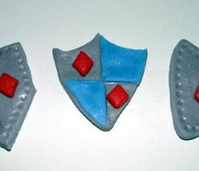 12 Fondant Knight Shield Cupcake Toppers