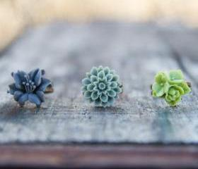 Green & Grey Lily Mum Flower Vintage Style Ring Set - Wasabi