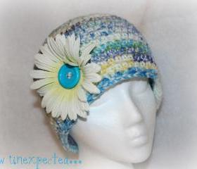 Crochet cloche with silk flower
