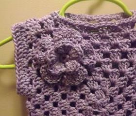 Short sleeve cotton sweater, purple granny style, 3 to 6 month size