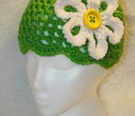 Hippie flower crochet cloche