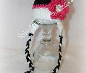 Earflap flower beanie