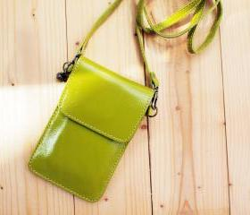 iPhone case, Leather bag with Strap, Lime Green