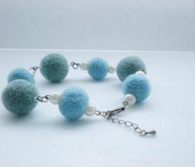 Baby Blue and Turquoise Felt Ball Bracelet - Needle Felted Ball Jewellery