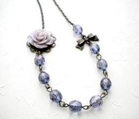 Flower Necklace - Purple Glass Flower Cabochon Necklace - Vintage Necklace - Bridesmaid Necklace