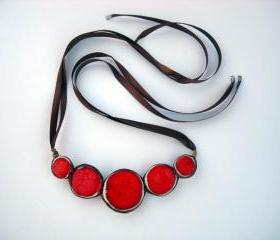 Red statement necklace ceramic jewelry