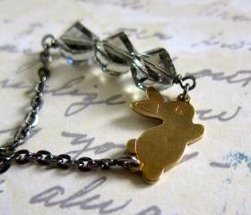Charming bunny & its treasure necklace . vintage rabbit with Swarovski crystals