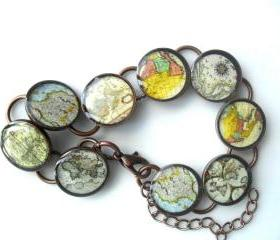 Vintage Map Bracelet