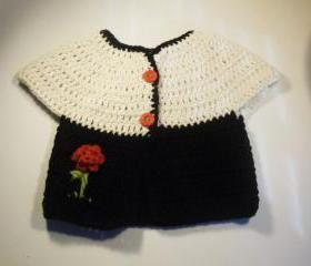 Crochet Short sleeve cotton cardigan sweater in black, cream 18 month size