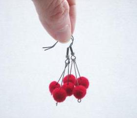 Red Berry Earrings - Needle Felted Red Ball Earrings