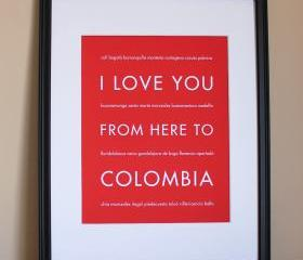 Colombia art print, 8x10 