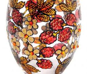 Hand Painted Glass Jar with Lid, Raspberries, Khokhloma-inspired
