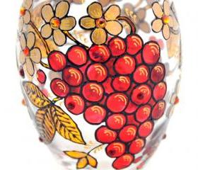Hand Painted Glass Jar with Lid, Rowan Berries, Khokhloma-inspired