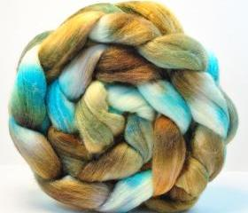 Handpainted Blue Face Leicester Tussah Silk Wool Roving Combed Top - 3.4 oz- SLEEPY BEAUTY