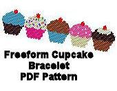 Large Freeform Cupcake Peyote or Brick Stitch Beaded Cuff Bracelet or Bookmark Digital PDF Pattern