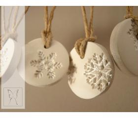 Silver dusted white snowflake porcelain ornament. Set of 5