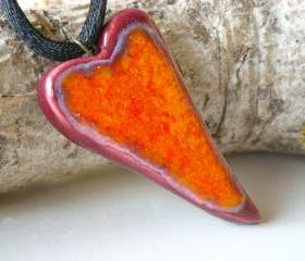 Heart pendant orange and burgundy