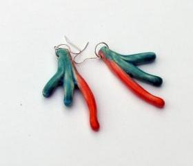 Earrings in shades of orange and turquoise Spring fashion 2012