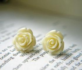 Cream White Rose Titanium Earrings. Titanium Post. Hypoallergenic. Bridesmaid Earrings
