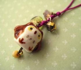 Phone charm with cute porcelain owl - When spring is here