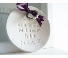 Cute ring bearer bowl - Mr and Mrs.