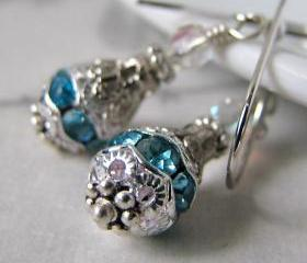 Lace earrings - Swarovski crystal on sterling silver (in black / aqua)