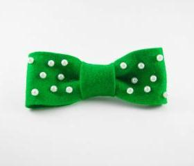 Cute Green Pearl Bow Clip