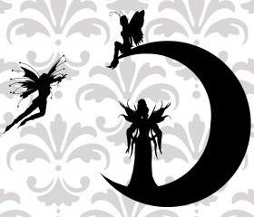 Moon Fairies vinyl decal - children's room - UK Seller