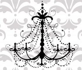 Swirly and decorative Chandelier vinyl decal 