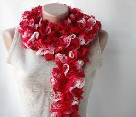 Red knit scarf Carmine red Winter accessories romantic gift