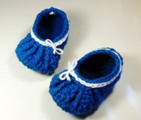 Baby booties - gathered bow style - bright blue and white