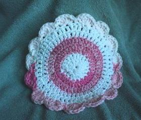 Wash Cloth - Pink and White Multi Colored -Crocheted