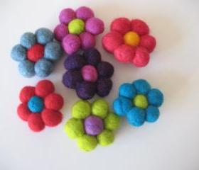 Felt Ball Flower Brooches