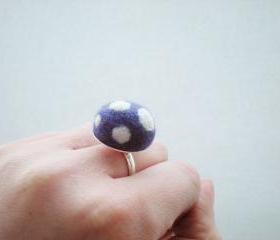 Felt Mushroom Ring - Needle Felted Purple and White Spot Ring