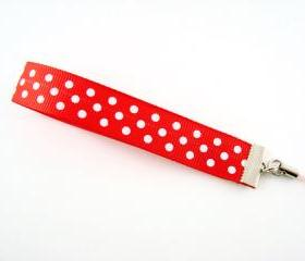 Red Polka Dot Ribbon Cell Phone Strap