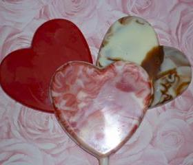 Heart Shaped Marbled Chocolate Lollipops Order of 6
